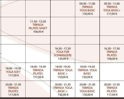 Alle Kurse in der Tripada Akademie im Nov und Dez 12